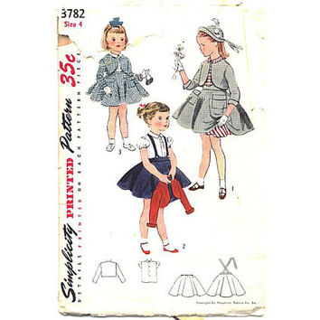 Vintage 1950s Little Girls Bolero Suit Blouse Petticoat Dress Simplicity Sewing Pattern 3782 Size 4 Waist 21 Peter Pan Collar Puffed Sleeves