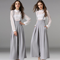 Grey Loose Long Culottes Wide Leg High Waist Pockets Strap Pants