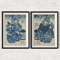 SET 2 courtesan - Japanese Wall Art- Geisha - Vintage Inspired Illustration - Poster - Woman - Art to Print - Wall Hanging
