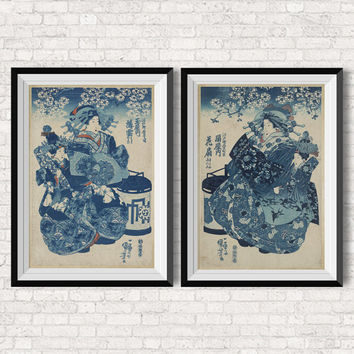 SET 2 Courtesan   Japanese Wall Art  Geisha   Vintage Inspired Illustration    Poster