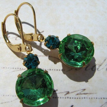 Estate Earrings, Peridot Glass Earrings, Vintage Zircon and Peridot Glass Lever Back Earrings, Bridesmaid Earrings