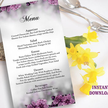 Flower Wedding Menu Template, Menu Card Template, Download Printable Menu, Floral Boho Menu Card Elegant Eggplant Menu DIY Editable File