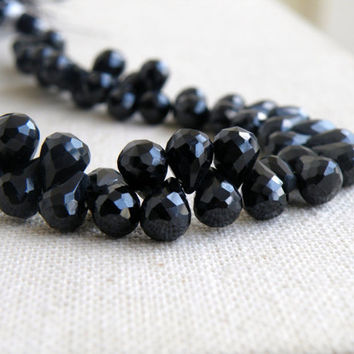 47% Off Black Spinel Gemstone Faceted 3d Teardrop 8.5mm to 9mm 35 beads 1/2 Half Strand
