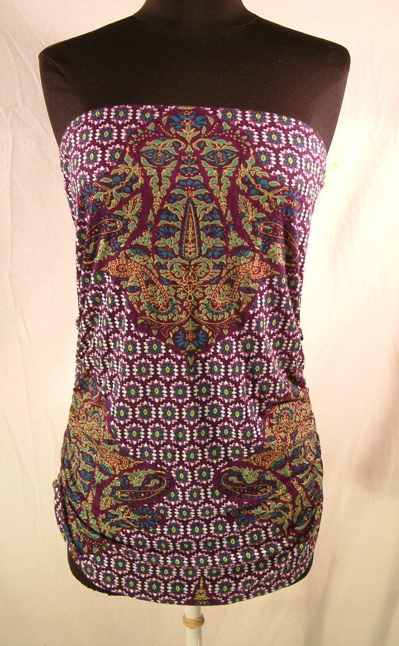 Lucy Love tube top Bohemian floral purple stretch ruched hips sz Large