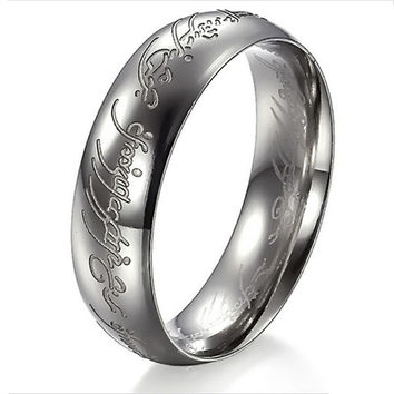 2016 The Hobbit Fine Jewelry Lord of the Rings Silver Ring Women Men 316l Stainless Steel Wedding Rings Mood Love Rings Gift