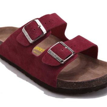 Birkenstock summer fashion leather cork flat shoes slippers casual sandals ladies men's couple slippers