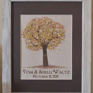 Fall Tree with Carved Heart Print with Names and Wedding Date on Linen - Heart Tree - Burlap Art - Sweetheart Tree - Custom Burlap Print