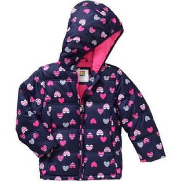 Healthtex Baby Toddler Girls' Bubble Puffer Jacket, 3T, Navy/Pink Hearts
