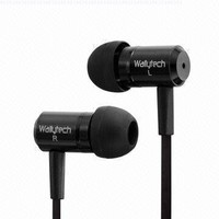 Wallytech New Metal Earphone with Flat Cable and a 8mm driver for SUPER BASS, Compatible with all iPhone, iPod, MP3, DVD, computer and CD players, will work with all listening devices with a 3.5mm stereo plug : model (Wea-110), EXCELLENT SOUND, YOU WILL BE