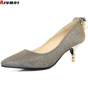 ASUMER 2018 spring autumn new arrival women pumps pointed toe ladies shoes shallow elegant high heels shoes big size 34-45