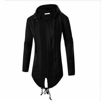 Men's Long Line Sweatshirt Hooded Outerwear Male Hip Hop Streetwear Long Hoodies Clothing Cool Men Sweatshirts