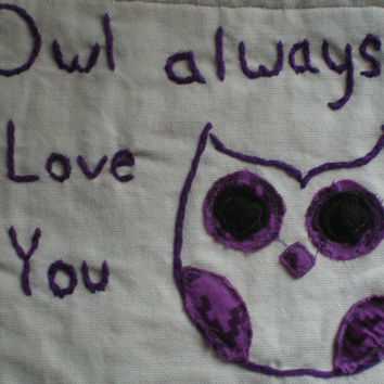 Owl always love you purple owl mug rug shabby chic owl mug rug hand embroidered original design