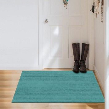 Ruggable 2-Piece Washable Rug - Solid Textured Ocean Blue