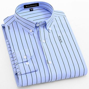 Spring New Fashion Men's Printed Striped Shirt Button-down Collar Social Long Sleeve Lightweight Breathable Men Casual Shirts