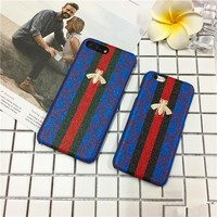 """Gucci"" Personality Multicolor Stripe Small Bee Embroidery iPhoneX/8/6S Leather Hard Shell iPhone7 Plus Couple Apple Phone Case"