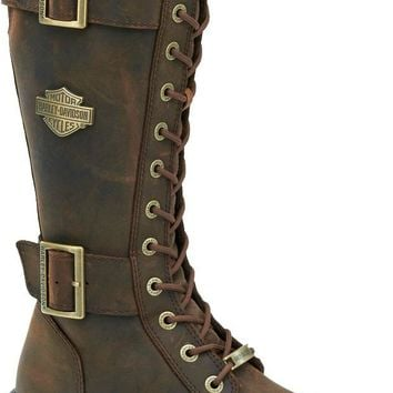 Harley-Davidson® Women's Belhaven Motorcycle Riding Boots | Aged Bark Brown - D87083