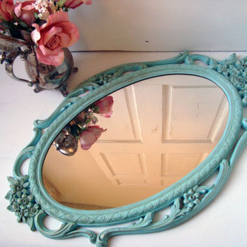 Blue Vintage Ornate Mirror, Aqua Blue Large Syroco Oval Mirror with Floral Detail, Distressed Mirror, Shabby Chic, Cottage Chic, Up Cycled