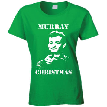 Lady's Billy Murray Stripes Murray Xmas T-Shirt