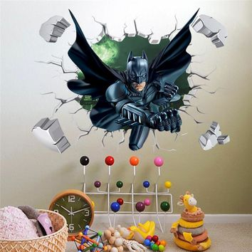 3D Througn Wall Batman Wall Sticker For Kids Nursery Children Room Cartoon Home Decor Wall Art PVC Break Wall Decal Boy's Gift