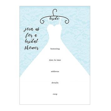 Wedding Dress Bridal Shower Fill In Invitations 10 pack