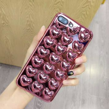 Dir-Maos For iPhone 8 Plus Case 5.5'' Marc Heart 3D Soft TPU Cover Necklace Chain Electroplate Lanyard Lady Gift Fashion Hot