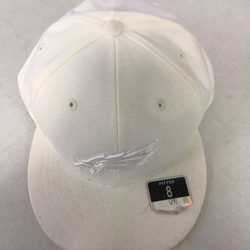 RETRO REEBOK PHILADELPHIA EAGLES WHITE ON WHITE FLAT BRIM FITTED HAT