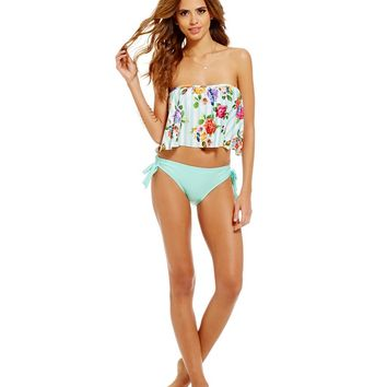 Gianni Bini Floral Stripe Flutter Bandeau Top & Front Tie Bottom | Dillards