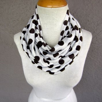 Polka Dot Infinity Scarf - Brown and White Circle Scarf - Big Polka Dot Scarf