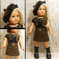 American Girl Doll Clothes Plaid Skirt Set Brown and Green Motifs - A Little French Girl