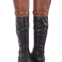 Black Cognac Two Tone Thigh High Riding Boots Faux Leather