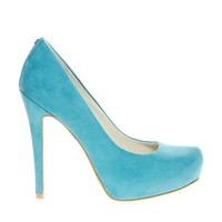 Faith Cadburys Turquoise Heeled Court Shoes