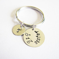 personalized big sister keychain, personalized key chain hand stamped initial, sister gift, best friends gift bff, gift for sister, silver