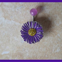 Flower Belly Ring With Purple Ball