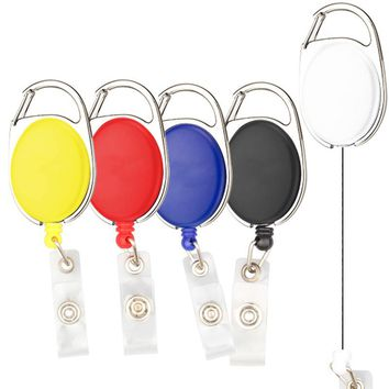 10pcs/lot Retractable Pull Badge Reel Zinc Alloy ABS Plastic ID Lanyard Name Tag Card Badge Holder Reels