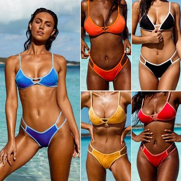 Solid color stitching bikini sexy swimsuit female split swimsuit