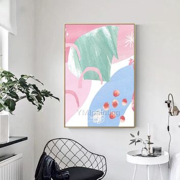 Modern art Abstract acrylic painting on canvas Pink and blue painting texture Large Wall Pictures Home Decor hand painted cuadros abstractos