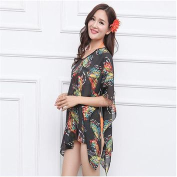 Cover ups Bikini Ultra-thin chiffon printing oversized sunscreen beach towel blouse Dress Women Polyester Kaftan Beach Sunscreen  Floral KO_13_1