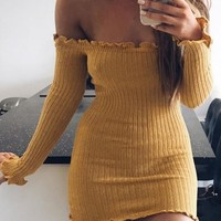 Casual Yellow Lace Bandeau Off Shoulder Backless Mini Dress
