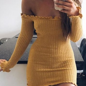 Streetstyle  Casual Yellow Lace Bandeau Off Shoulder Backless Mini Dress