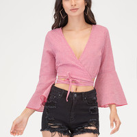 Picnic Perfect Tied Wrap Bell Sleeve Top GoJane.com