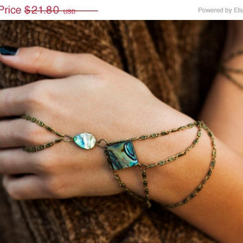 SPRING FLASH SALE Venus Abalone Shell hand chain, bohemian hand chain, slave bracelet, hand harness, ring bracelet, bohemian jewelry, finger