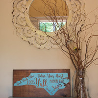 Wooden State Sign - Wooden Home Sign - Wood State Sign - State Home Sign - Home Sign - Housewarming Gift - Southern Sayings - Rustic Sign