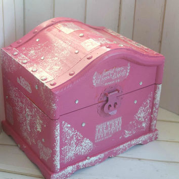 Pink Keepsake Box, Girl Jewelry Storage, Pink Box, Bible Verse Jewelry Box, Treasure Chest, Pink Trinket Box, Bible Verse Decor