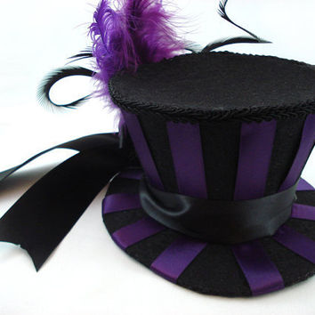 Deep Purple & Black Wide Stripe Burlesque Mini Top by angelyques