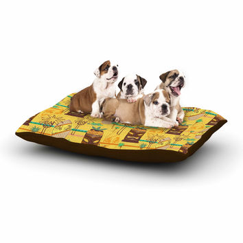 "Jane Smith ""Surfing Tiki"" Yellow Pattern Dog Bed"