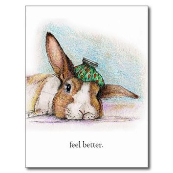 FEEL BETTER BUN POST CARDS from Zazzle.com