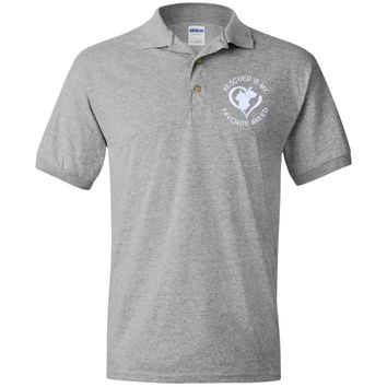 RESCUED IS MY FAVORITE BREED EMBROIDERED POLO SHIRT