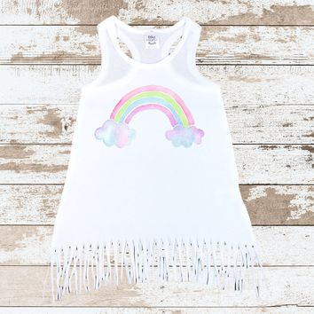 Rainbow Fringe Dress | White Dress with Rainbow Watercolor Design  | Rainbow Outfit for Girls