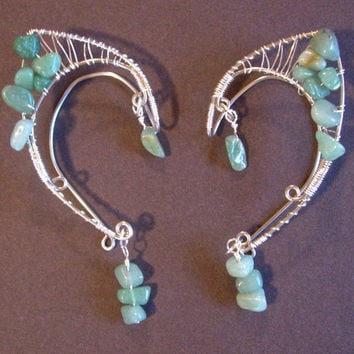 Pair of Beautiful Silver Faerie Ears with Light Aventurine chips, Elf Ear Cuffs, Fairy, Renaissance, Elven