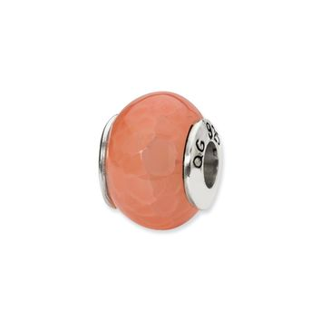 Orange Cracked Agate Stone Bead & Sterling Silver Charm, 13mm